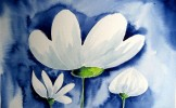 Watercolor painting of white flower