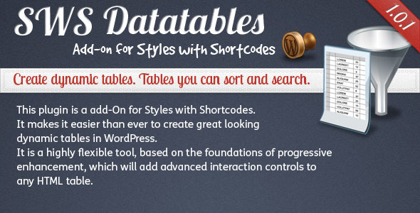SWS Datatables add-on for Styles with Shortcodes