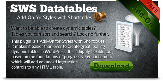 SWS Datatables for Styles with Shortcodes