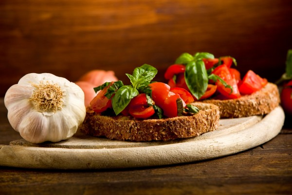 Bruschetta appetizer with fresh tomatoes (get the image on Photodun.net)