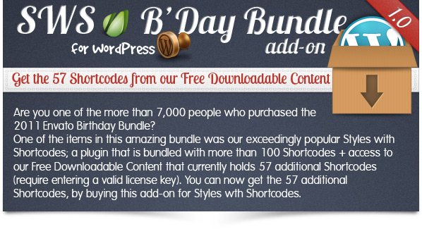 SWS B'Day Bundle add-on for Styles with Shortcodes
