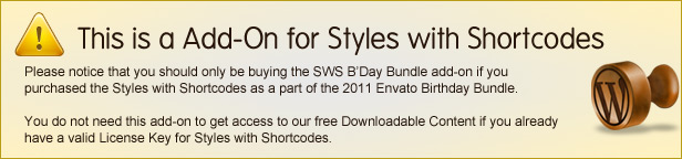 SWS B'Day Bundle add-on for Styles with Shortcodes Disclaimer