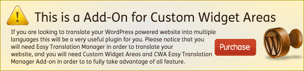 CWA Easy Translation Manager is a add-on for Custom Widget Areas for WordPress