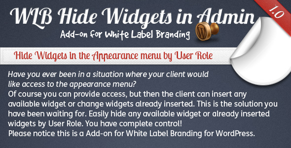 WLB Hide Widgets in Admin Add-on for White Label Branding for WordPress