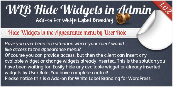 WLB Hide Widgets in Admin for White Label Branding for WordPress