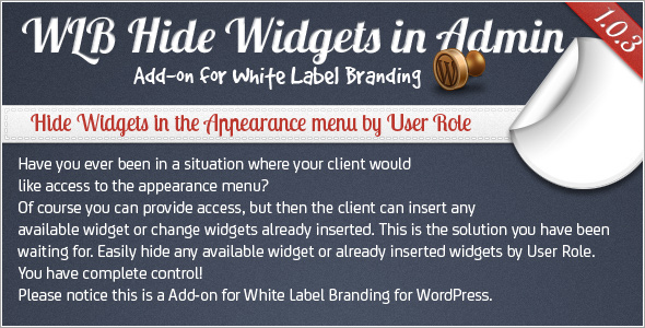 WLB Hide Widgeta in Admin add-on for White Label Branding for WordPress