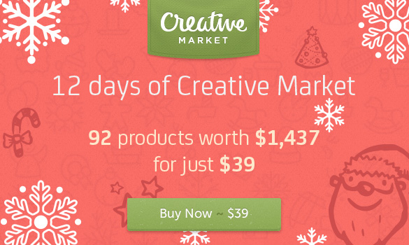 12 days of Creative Market - Get the Holiday Bundle worth $1437 for only $39